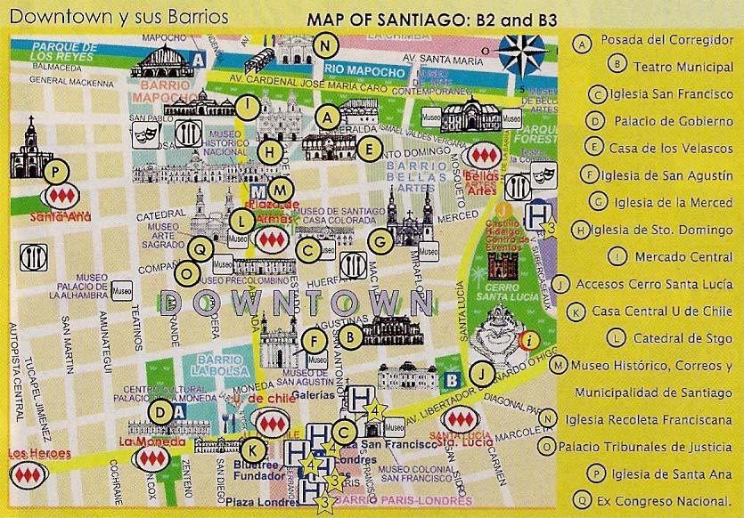 Turismo en santiago de chile mapa for Mapa de santiago de chile