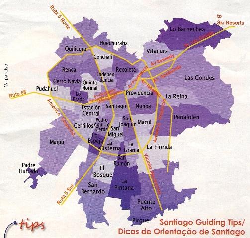 Travel chile site santiago de chile map by comunas for Calles de santiago de chile